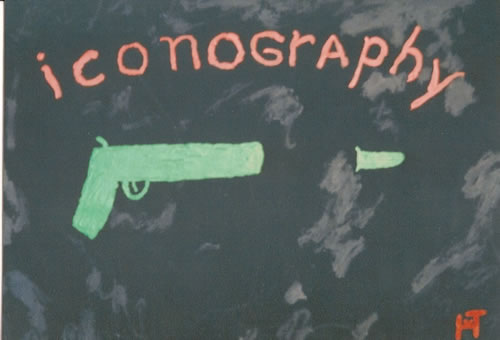 Picture of the painting: 'Iconography - A revolver with a bullet.'