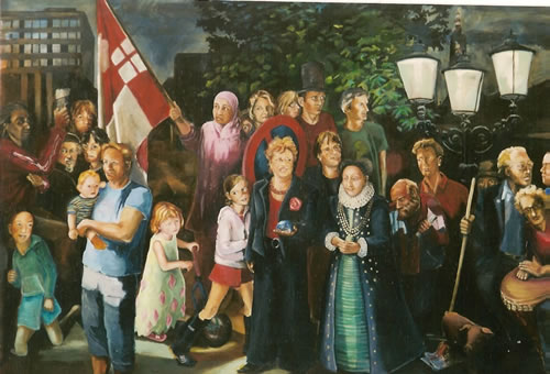 Picture of the painting: 'Nightwatch of Amersfoort - Jack Terrible is one of them!'
