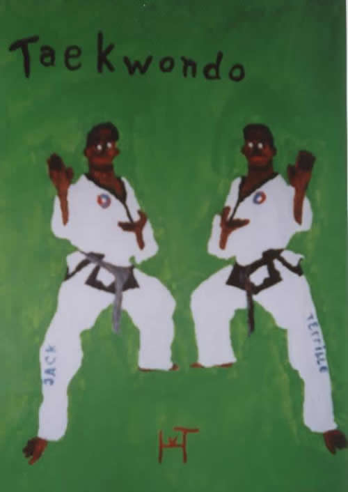 Picture of the painting: 'Taekwondo - A warrior and his reflected figure.'