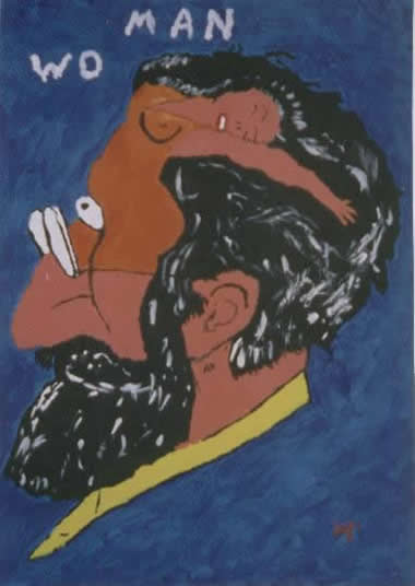 Picture of the painting: 'Wo man - What's on a man's mind? (Sigmund Freud)'