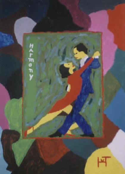 Picture of the painting: 'Harmony - A couple is dancing the tango!'