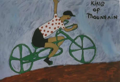Picture of the painting: 'King of Mountain - The Spotted Jersey in the Tour de France!'
