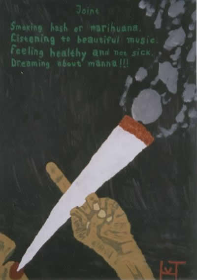 Picture of the painting: 'Joint - Smoking a joint with hash or marihuana.'