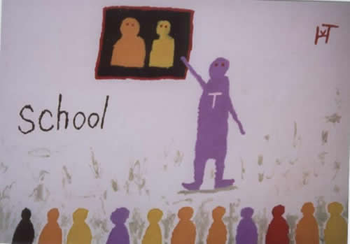 Picture of the painting: 'School - A teacher and pupils!'