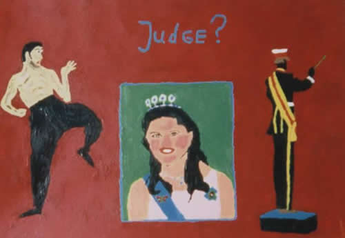 Picture of the painting: 'Judge? - Bruce Lee, Crownprinces Victoria and a choir master!'