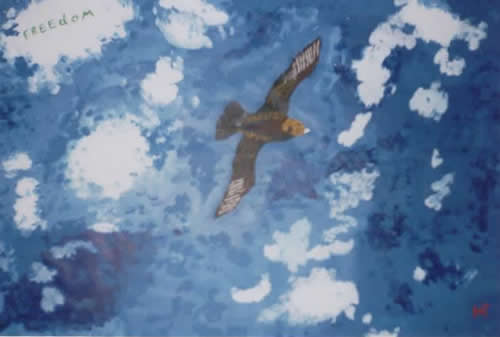 Picture of the painting: 'Freedom - Free like a bird in the sky!'