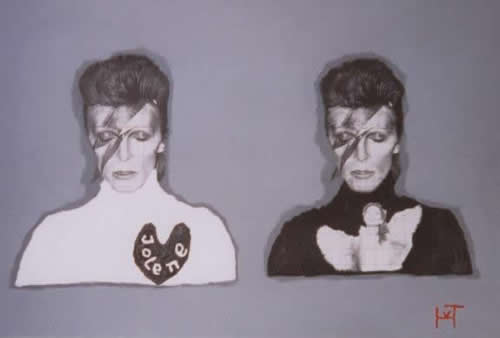 Picture of the painting: 'Jolene - David Bowie as twin!'
