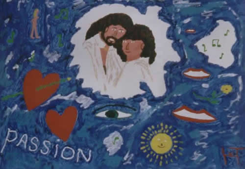 Picture of the painting: 'Passion - Barry Gibb and Barbara Steisand!'