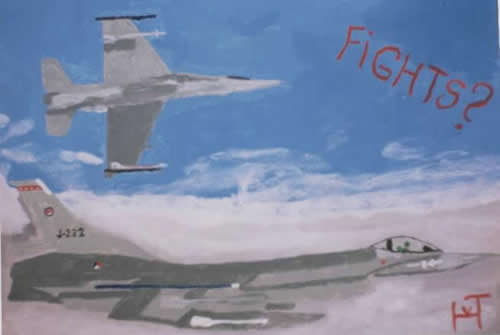 Picture of the painting: 'Fights? - Two F-16's!'