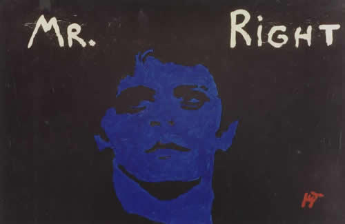 Picture of the painting: 'Mr Right - The blue mask of Lou Reed.'