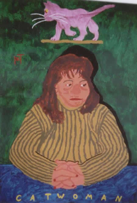 Picture of the painting: 'Catwoman - A lady with her cat.'