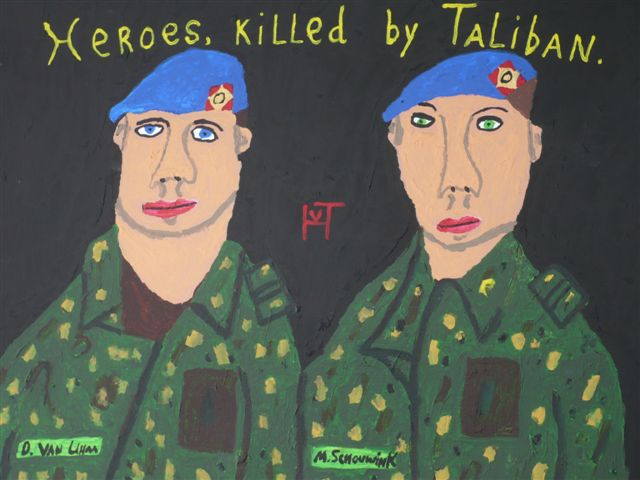 Picture of the painting: 'Heroes, killed by Taliban. - Two Dutch soldiers...'