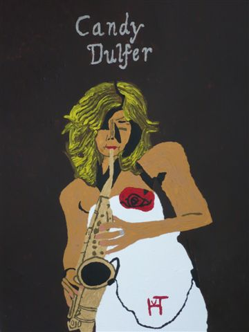 Picture of the painting: 'Candy Dulfer - Lady on saxophone!'