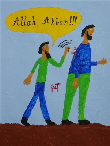 Picture of the painting: 'Allah is the Greatest!!! - The 'prophet' is sticking with the knife.'