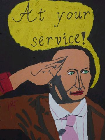 Picture of the painting: 'At your service! - Pronouncement of Dutch politician Pim Fortuyn!'