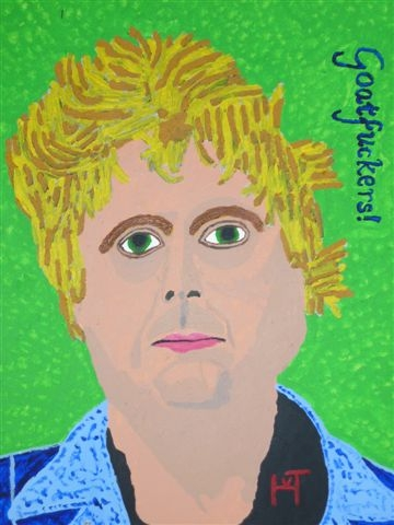 Picture of the painting: 'Goatfuckers - Pronouncement of Theo van Gogh!'
