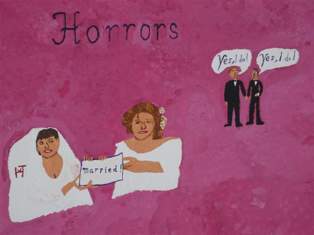 Picture of the painting: 'Horrors - Marriages between gays.'