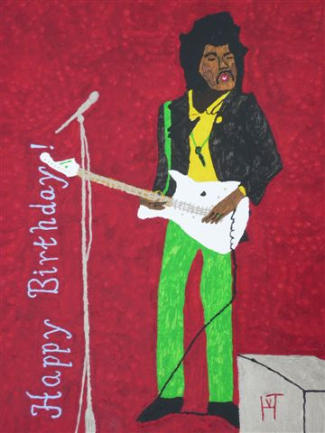 Picture of the painting: 'Jimi Hendrix - Happy Birthday!'