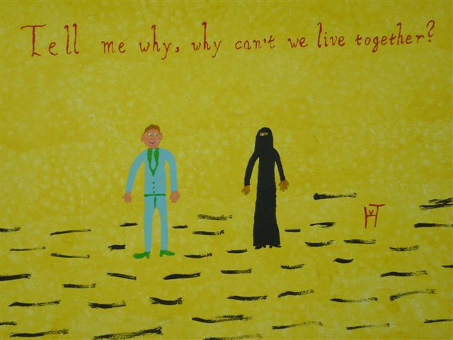 Picture of the painting: 'Live Together - Why can't we live together?'