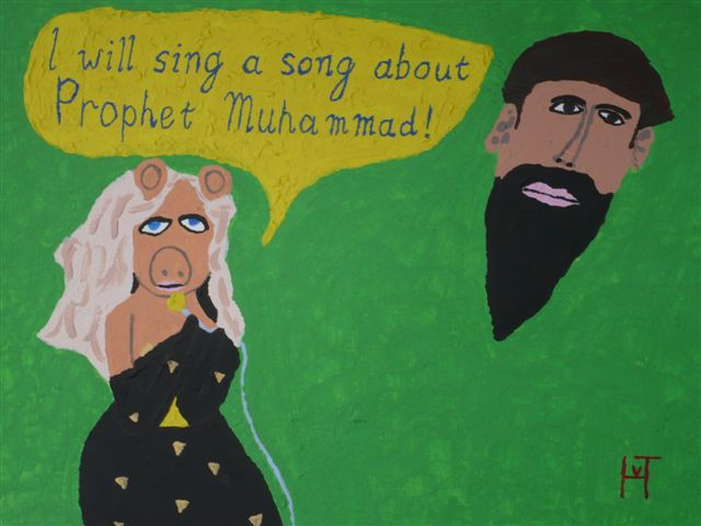 Picture of the painting: 'Miss Piggy - Miss Piggy and 'prophet' Muhammad!'
