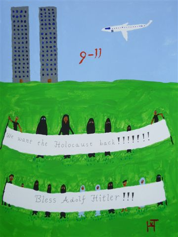 Picture of the painting: 'Nine Eleven - the Twin Towers...'