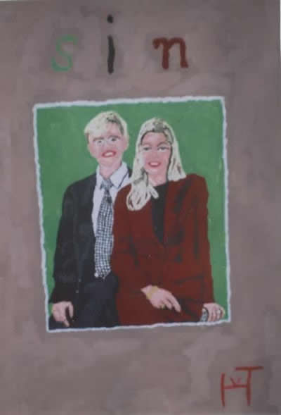 Picture of the painting: Sin ; 'King and Queen of the Netherlands. An imperfect married couple.'