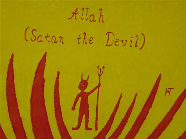 Picture of the painting: 'Allah - Satan the Devil!'