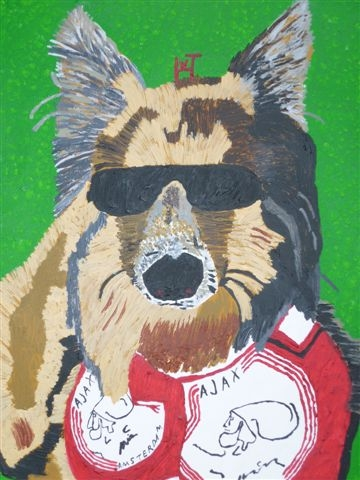 Picture of the painting: 'My sheep-dog - Fan of Ajax!'