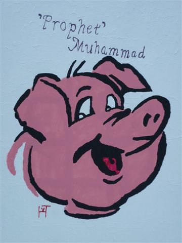 Picture of the painting: ''prophet' Muhammad - Head of Pig!'